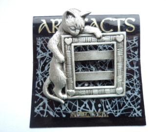 Vintage Signed JJ Silver pewter Cat Photo Frame Brooch/Pin