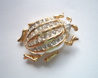 Vintage Unsigned Goldtone/Austrian Crystal Beetle Brooch/Pin