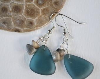Lake Michigan Petoskey stone nugget and beach glass earrings, Up North Michigan, Lake Michigan