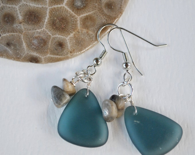 Lake Michigan Petoskey stone nugget and beach glass earrings, Up North Michigan, Lake Michigan