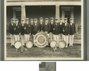 Hellertown PA music band posing outdoors antique photo