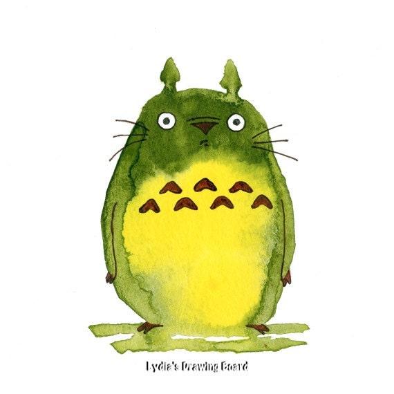 Totoro, Totoro Art, My Neighbor Totoro, Miyazaki, Hayao Miyazaki, Fan Art, Anime, Anime Prints, Wood Spirit, Childrens Art,  Kids Room Decor
