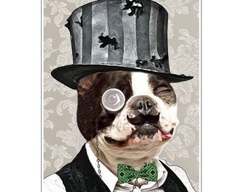 Animal painting portrait painting  Giclee Print Acrylic Painting Illustration Print wall art wall decor Wall Hanging: Steampunk Bulldog