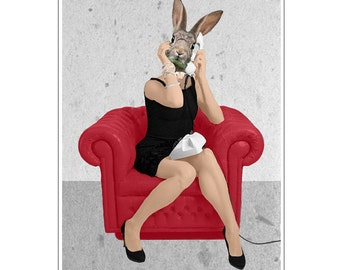 Rabbit Print, Rabbit Art Print, Rabbit Bunny Print, Rabbit Art, Bunny Print, Rabbit Wall Art, 8x10,Red, Women, Telephone, Rabbit Artwork