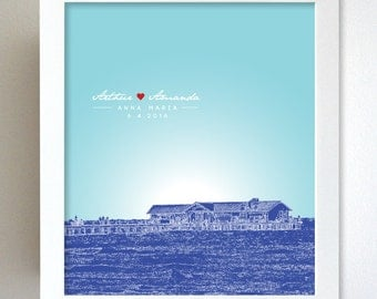 Bridal Shower Present / Anna Maria Florida Skyline custom present / Special Date Art Poster / Any Cityscape Available