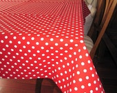 Green Polka Dot Tablecloth - Red Polka Dot Tablecloth - Duck Linen Square Rectangle Tablecloth - Red White Polka Dot - Kitchen Table Cloths
