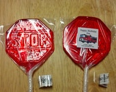 1 dz Hard Candy Stop Sign Shaped Lollipop Party Favors w/ Personalized Back Labels