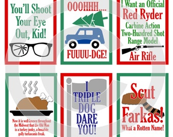 A Christmas Story Movie Digital Scrapbooking Journaling Cards - Ralphie Quote Xmas Project Life Pocket Page Inserts - DIGITAL DOWNLOAD