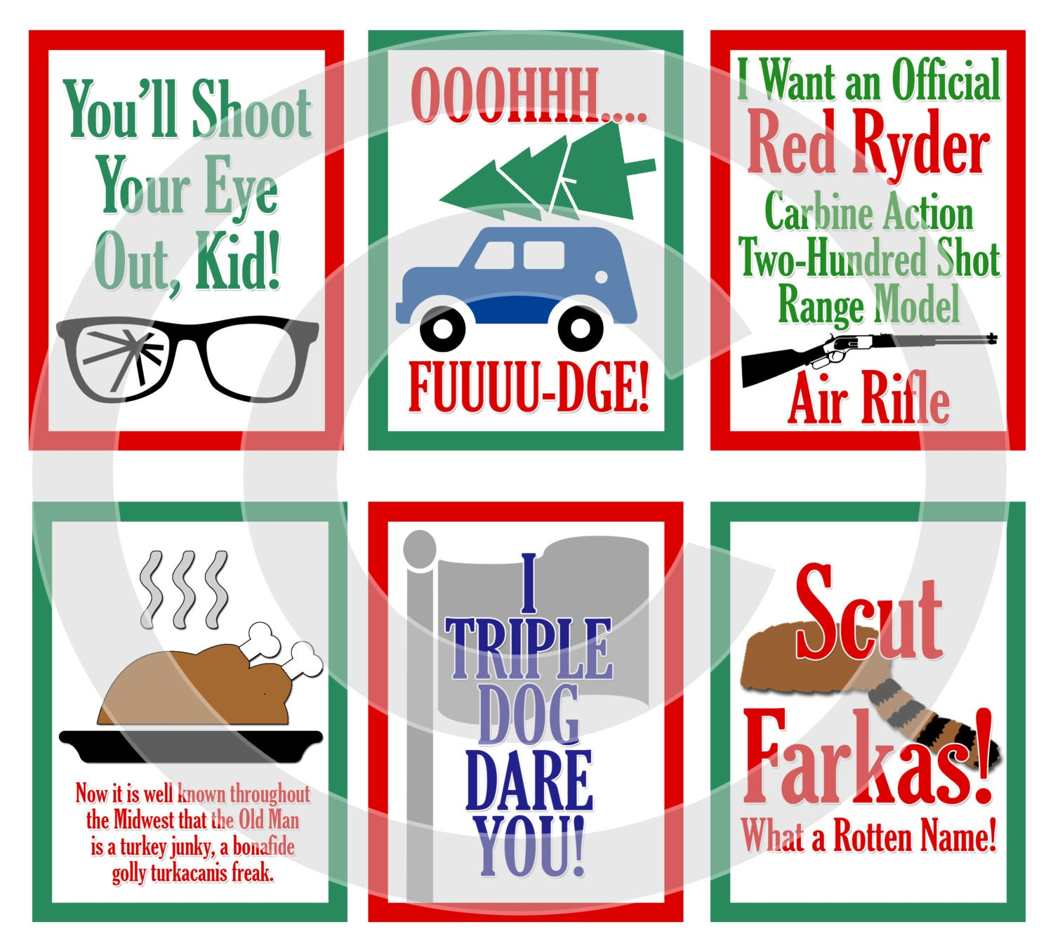 A Christmas Story Movie Digital Scrapbooking Journaling Cards