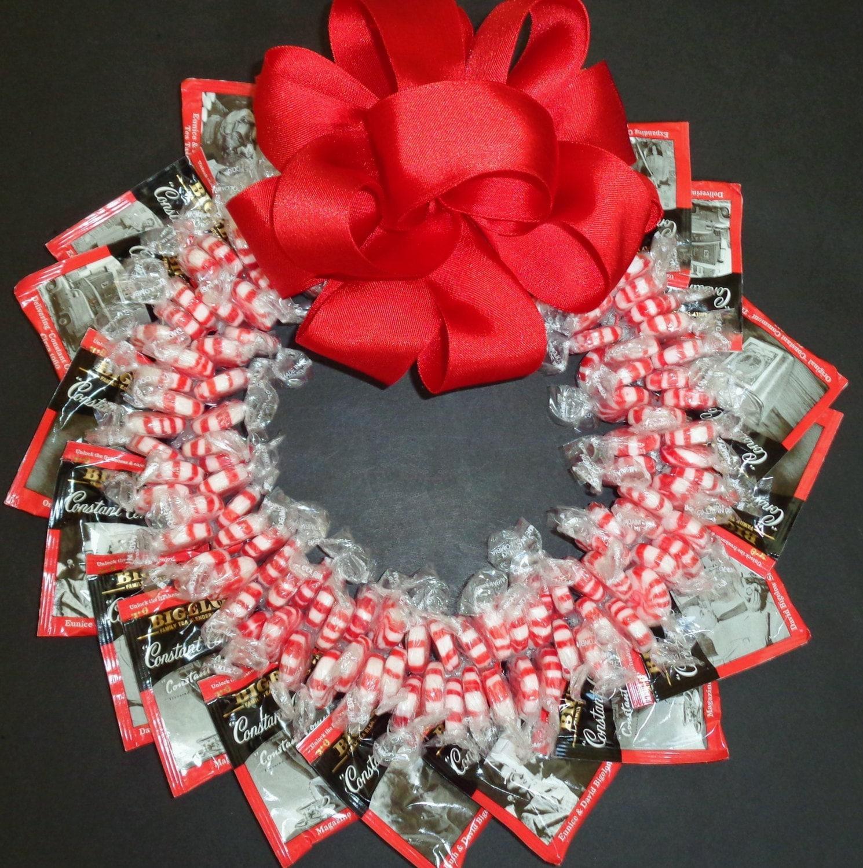 Peppermint candy tea wreath edible centerpiece unique client