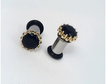 Pair 18k yellow or white gold plated Faceted black zircon crystal plugs for gauged ears: 10g (2.4mm), 8g (3mm), 6g (4mm), 4g (5mm), 2g (6mm)