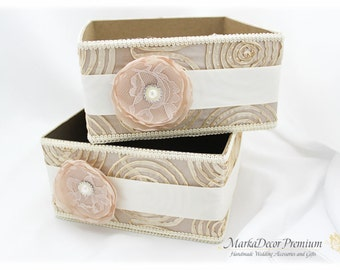Set of 2 Program Boxes / Amenities Box /Bubble Favors Box / Custom Made Wedding Box / Gift Holder in Champagne, Tan and Ivory