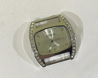 DIY Large 43mm Geneva Limited Square Watch Face with Rhinestone Accents