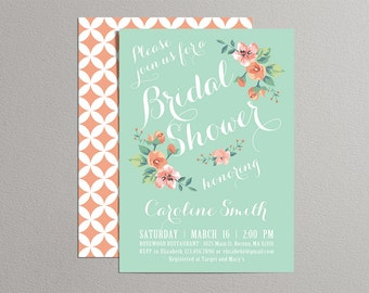 Printable Bridal Shower Invitation (mint & peach) - Vintage Floral Invitation - Spring/Summer Bridal Shower
