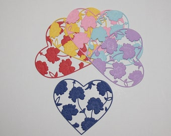 Set Of 6 Hearts/Die Cuts/Embellishments/Paper Cuts/Scrapbooking/Card Making