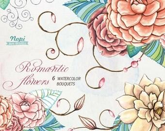 Watercolor Flower Clipart Bouquets, Valentines Watercolor Floral Clipart, Digital Clip Art Ste, Wedding Bouquets Wedding Invitation Elements