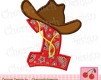Cowgirl Number 1 cow girl  hat number Embroidery Applique -4x4 5x7 6x10