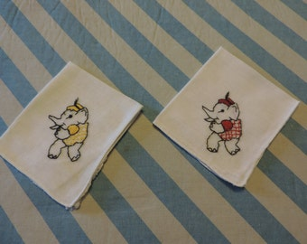 REDUCED - Set of Two Vintage Embroidered Elephant Children's Hankies - Red and Yellow