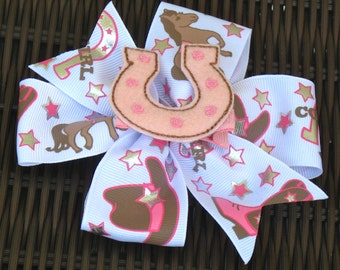 Large Cowgirl Bow with Many Feltie Centers - Cowgirl Pinwheel Hair Bow - Horseshoe, Cowgirl Boot, Cowgirl Hat - Perfect for a Gift -BowBravo