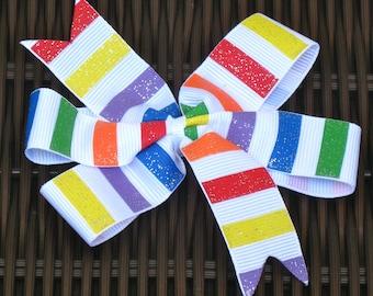 Striped, Diamonds or Hibiscus Glittery Medium Bow-Striped Bow,Jester Bow,Hibiscus Bow -  For Babies, Toddlers, Girls - Great Gift - BowBravo