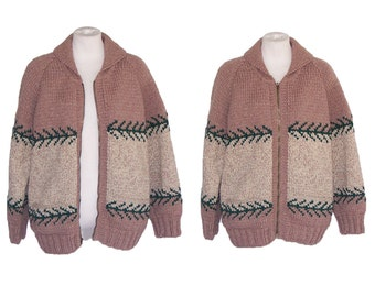 50s Cowichan Sweater Unisex Vintage Lined Wool Cardigan LM to L Free Domestic and Discounted International Shipping