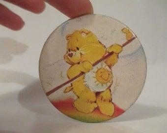Vintage Pinback Button- Yellow Care Bear Funshine Bear- Vintage Collector Button Pin