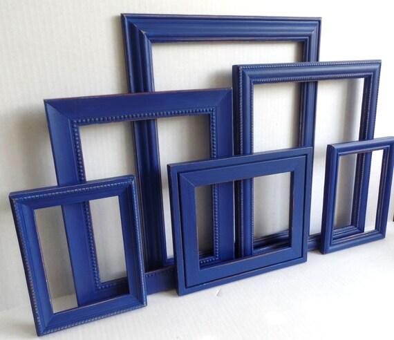 picture frame collection set of six navy blue distressed. Black Bedroom Furniture Sets. Home Design Ideas