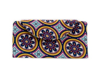 Women's Bifold Wallet, Blue Floral Wallet, Cotton Corduroy, Blue, Yellow, and Gray, Handmade