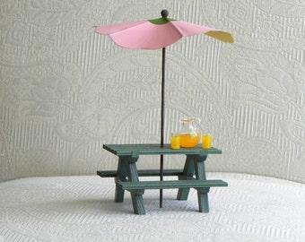 Fairy Garden Picnic Table Handcrafted - miniature umbrella - fairy furniture - terrarium accessories miniature umbrella