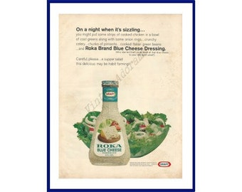 KRAFT Roka Blue Cheese Dressing Original 1967 Vintage Color Print Ad - Tossed Salad and Blue Cheese Dressing