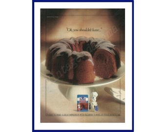 TUNNEL OF FUDGE Bundt Cake Original 1991 Vintage Color Print Ad - Chocolate Cake on White Cake Stand w/ Pillsbury Dough Boy