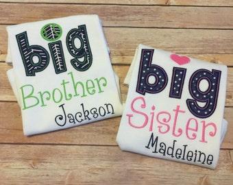 Big Brother/Big Sister Personalized Sibling Shirt (navy/pink and navy/green)