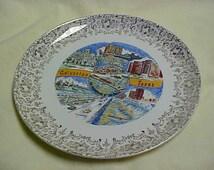 Vintage 1960's Souvenir Plate China Pottery Galveston Texas John Sealy Sacred Heart Church Causeway seawall and more