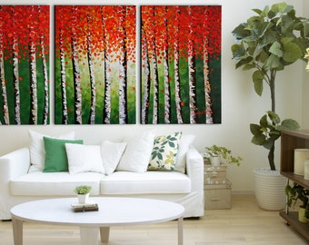 Contemporary ORIGINAL Abstract Modern Aspen Leaves Landscape Fine Art Bright Oil Palette Knife Painting on 72x36 Canvas Made2Order by Denisa