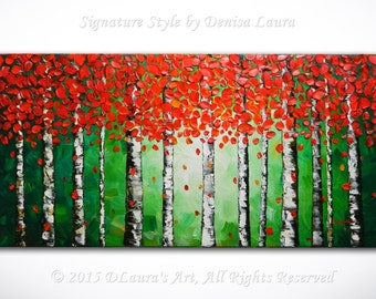Contemporary ORIGINAL Abstract Modern Red Aspen Tree Landscape Fine Art Bright Oil Palette Knife Painting on 40x20 by Denisa Made2Order