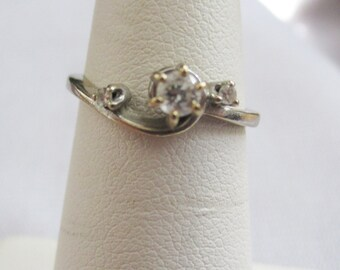 Vintage retro Diamond (tested)   ring marked 14 kt  - Estate find! Great Promise ring!