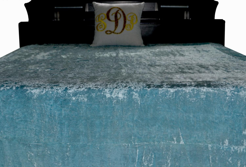 Sky Blue Bed Cover Velvet Couture Bed Linen King Size Bedspread 110