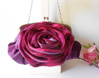 Plum Evening Bag with Flower Glamorous Plum Clutch Handbag EB-0657