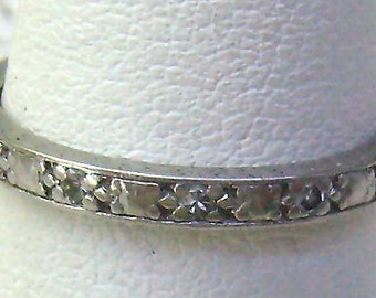 Sale...Antique/Art Deco Ring..18K White Gold Diamond Eternity Ring...18K Gold Band...Channel Set Diamonds...Engraved Leaf SIdes..Circa 1920