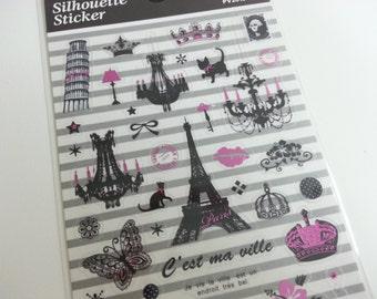Silhouette Stickers - Landmark B - 1 Sheet