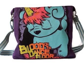 Blood On The Dance Floor Bag Upcycled T-Shirt Crossbody Bag