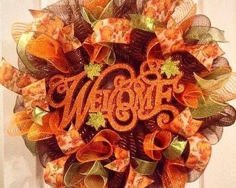 Fall Wreath/ Thanksgiving Wreath/ Glittery Orange Welcome Wreath/ Harvest Wreath/ Fall Door Decor