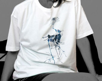 Ostrich white t shirt Direct to garment printing from watercolor painting