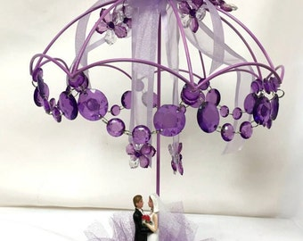 Umbrella Bride and Groom Cake Topper or Centerpiece
