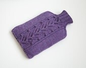 Knitted Hot Water Bottle Cover  Purple - PINNER