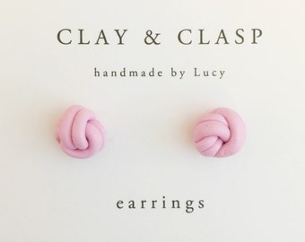 Love Knot Earrings - beautiful handmade polymer clay jewellery by Clay & Clasp