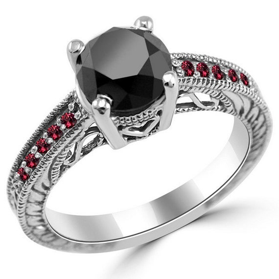 2 45ct Black Diamond & Red Ruby Engagement Ring 14k Gold