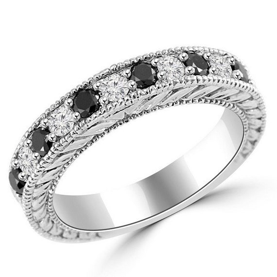 Black Diamond Wedding Ring Palladium Antique Style