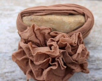 Brown Fabric Flower Bracelet-Shabby Chic-Repurposed-Refashioned