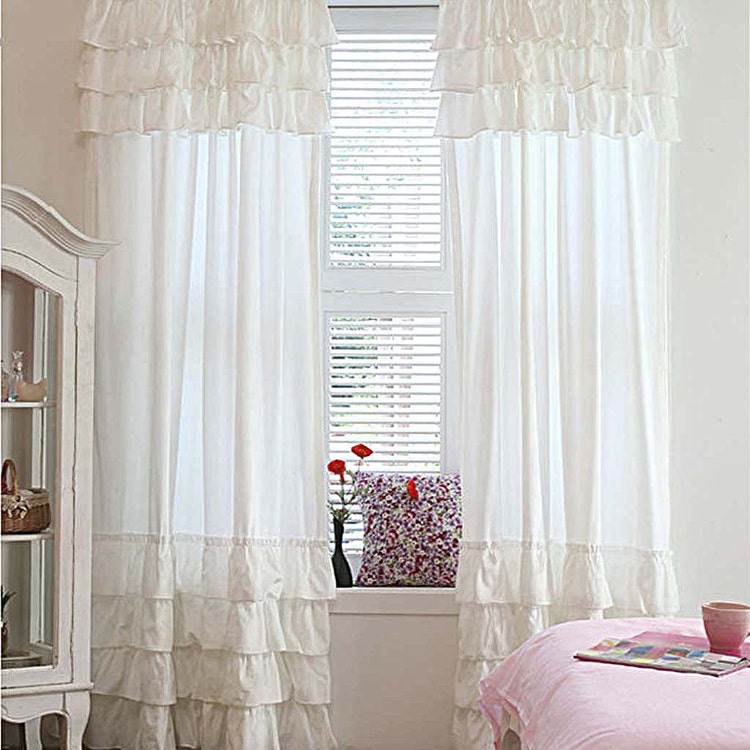 Pink Or White Ruffle Curtain Panel By Lovelydecor On Etsy